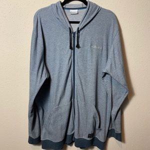 COLUMBIA Men's XXL Blue Branded Zip Up Hoodie